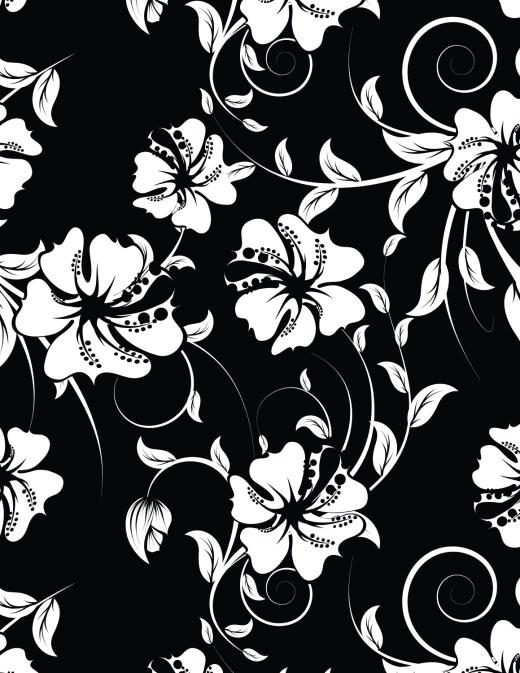 Coloriage hibiscus fond noir à imprimer