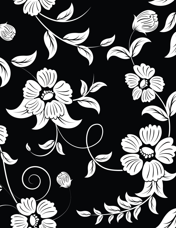 Coloriage fond noir  imprimer fleurs sauvage