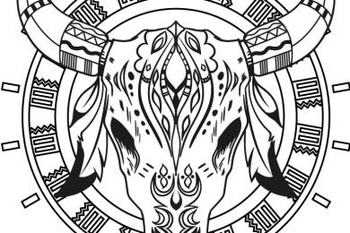 Crane buffalo amérindien à colorier