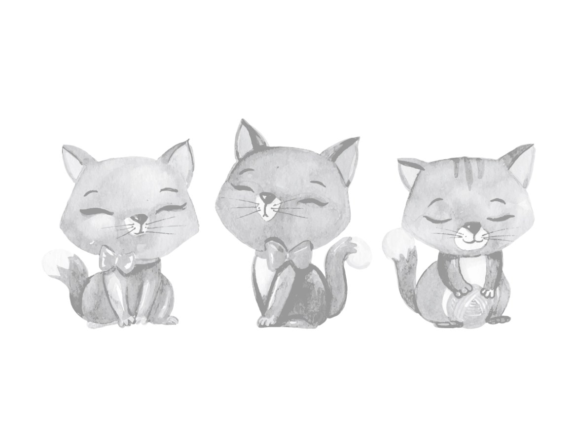 Dessin grayscale adorables chatons a imprimer