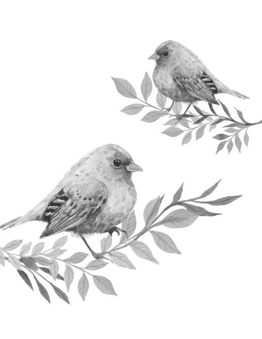 Image grayscale à imprimer oiseaux du printemps