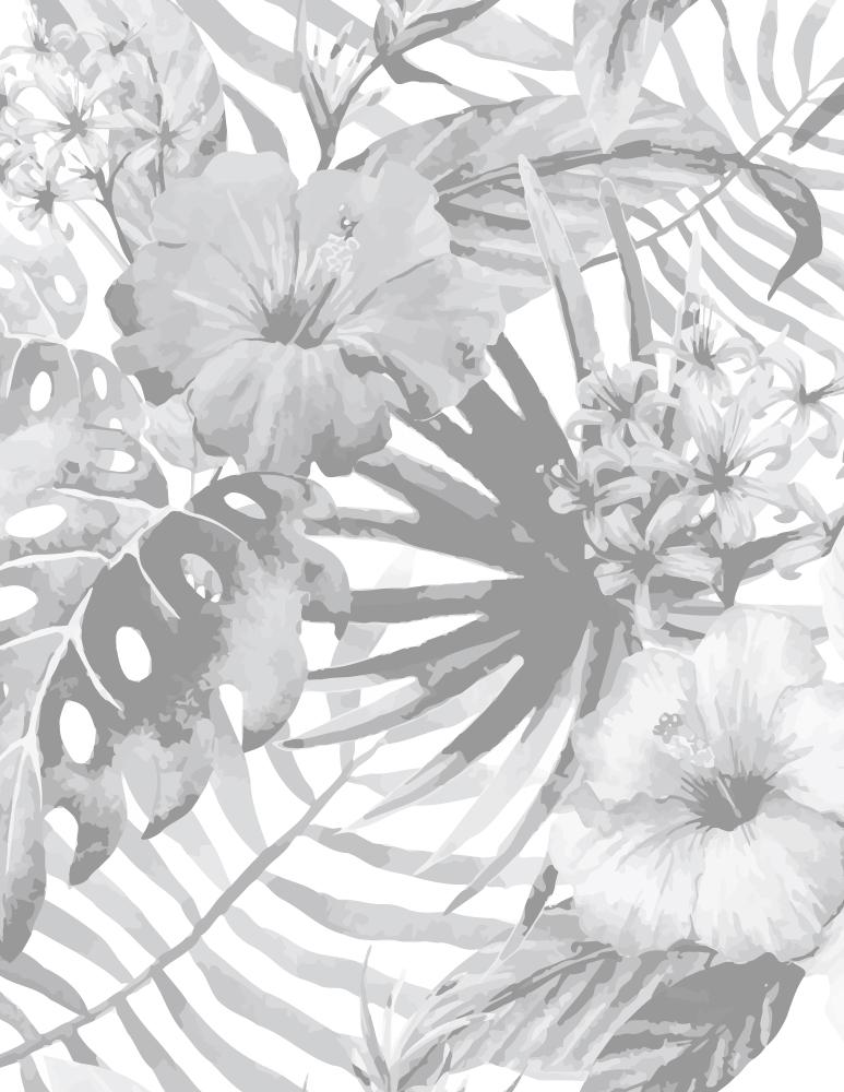 Fleurs tropicale image grayscale à imprimer