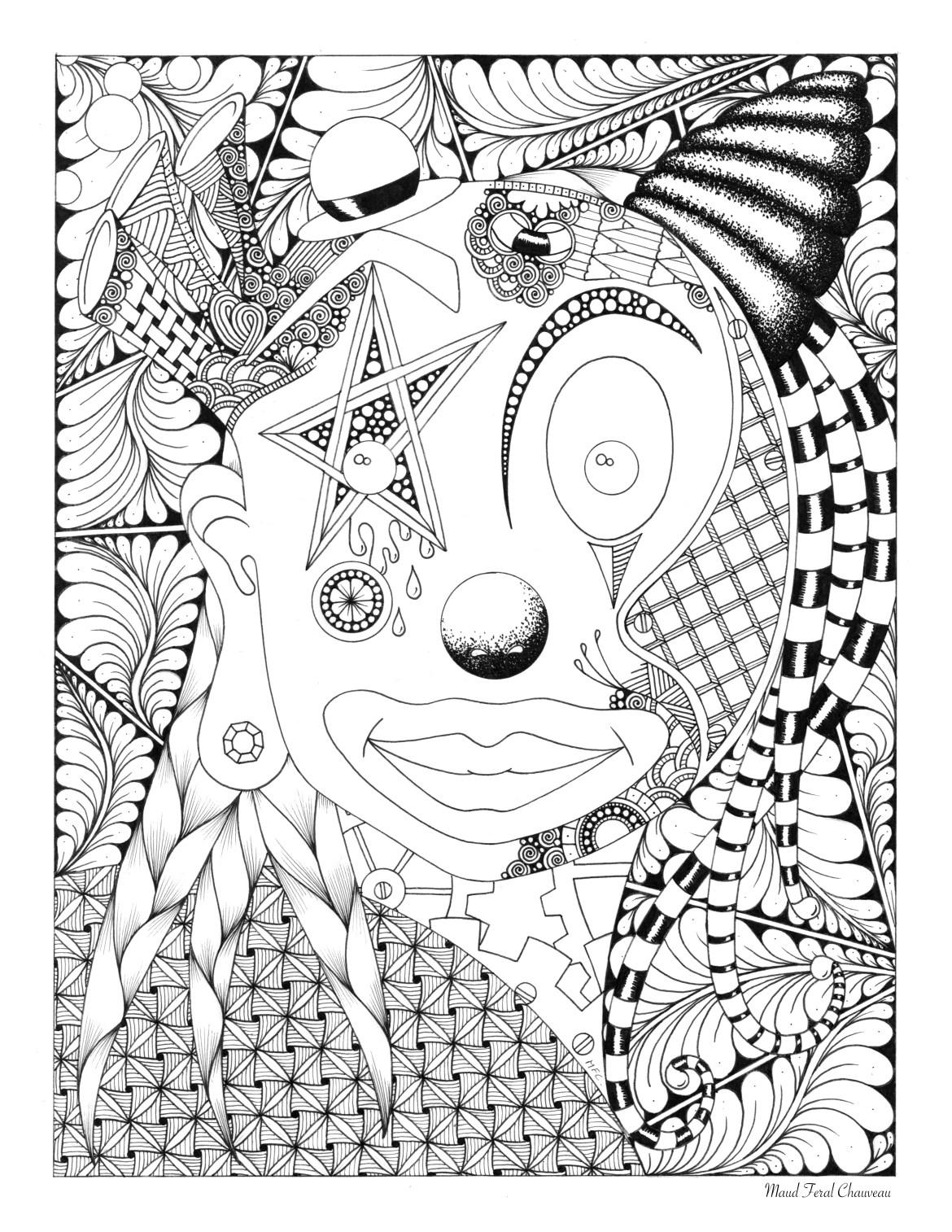 Coloriage Clown Adulte.Dessin De Clown A Colorier Par Maud Feral Artherapie Ca