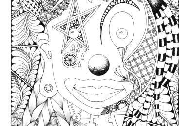 Dessin de clown à colorier par Maud Feral