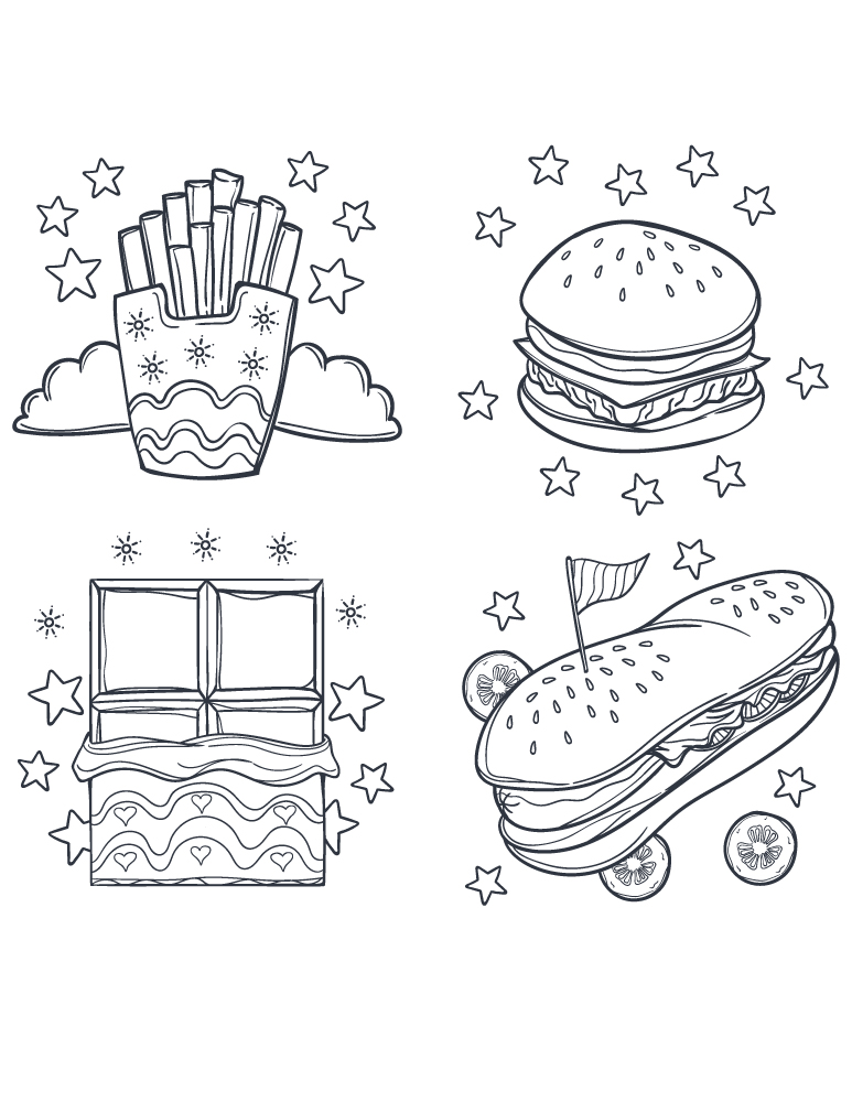 Street fast food dessin coloriage pour adulte