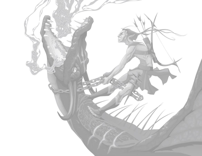Coloriage grayscale gratuit chasseur de dragon