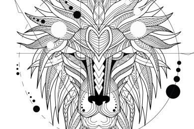 Image tête de lion amérindien à colorier