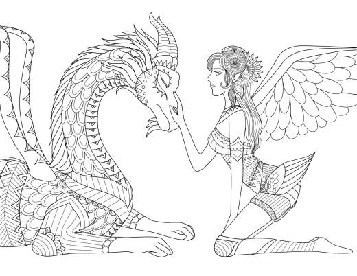 Coloriage de fantaisie pour adulte fée et dragon