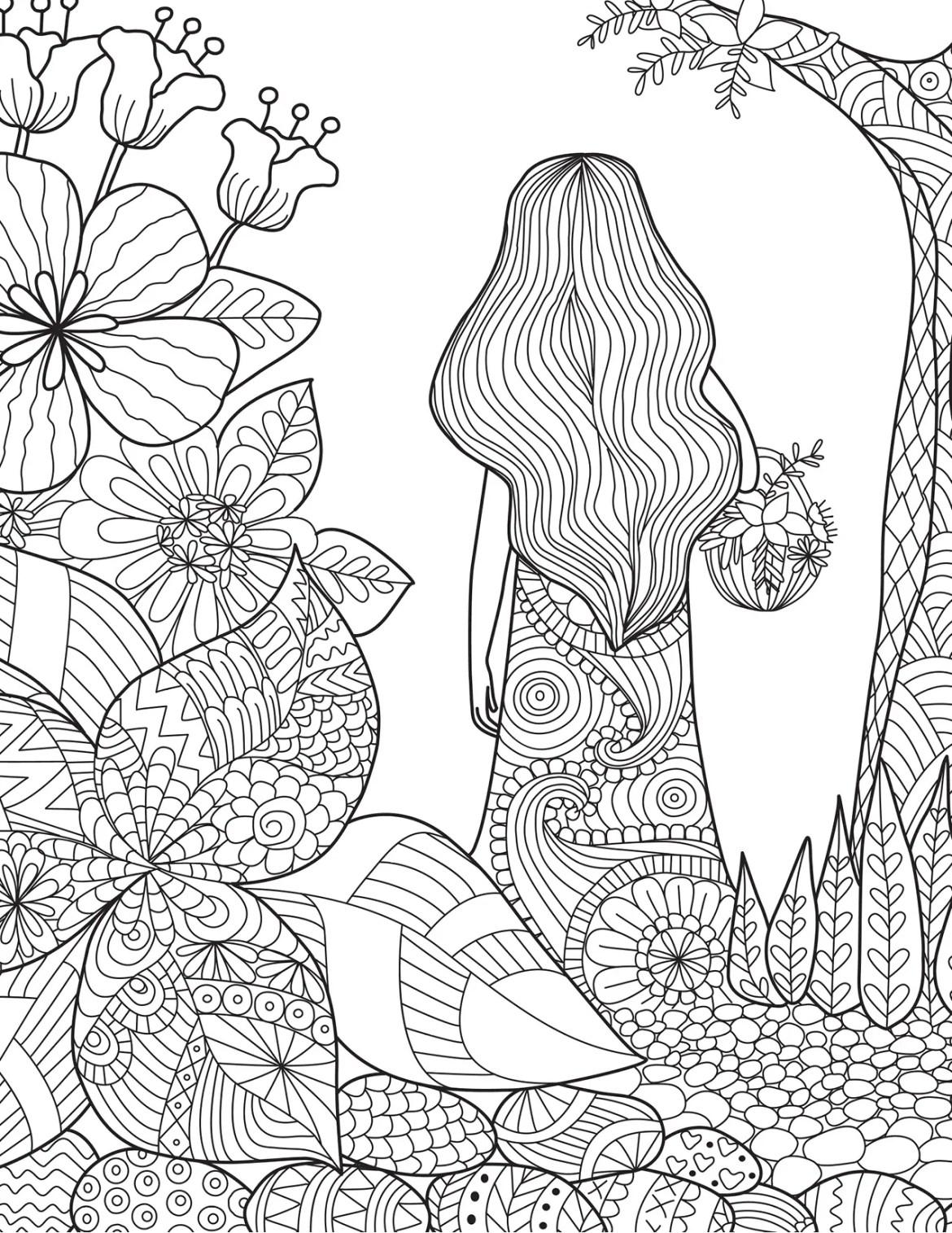Coloriage Gratuit Foret.Coloriage De La Nature Femme Dans La Foret Artherapie Ca