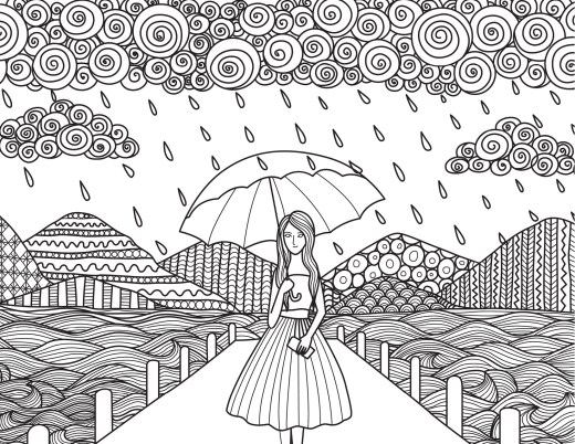 Jolie femme sous la pluie coloriage difficile pour adulte