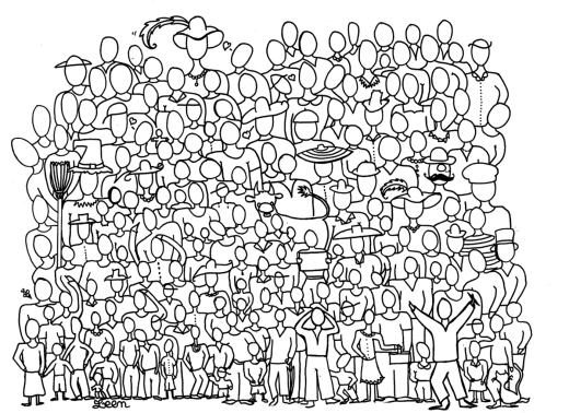 Foule de festival d'été coloriage difficile à imprimer