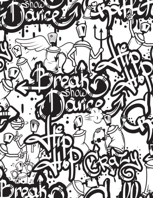 Mosaique hip hop graffiti à imprimer et dessiner