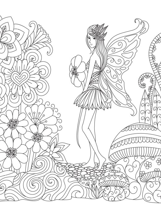 Dessin fée des fleurs pour adulte à colorier