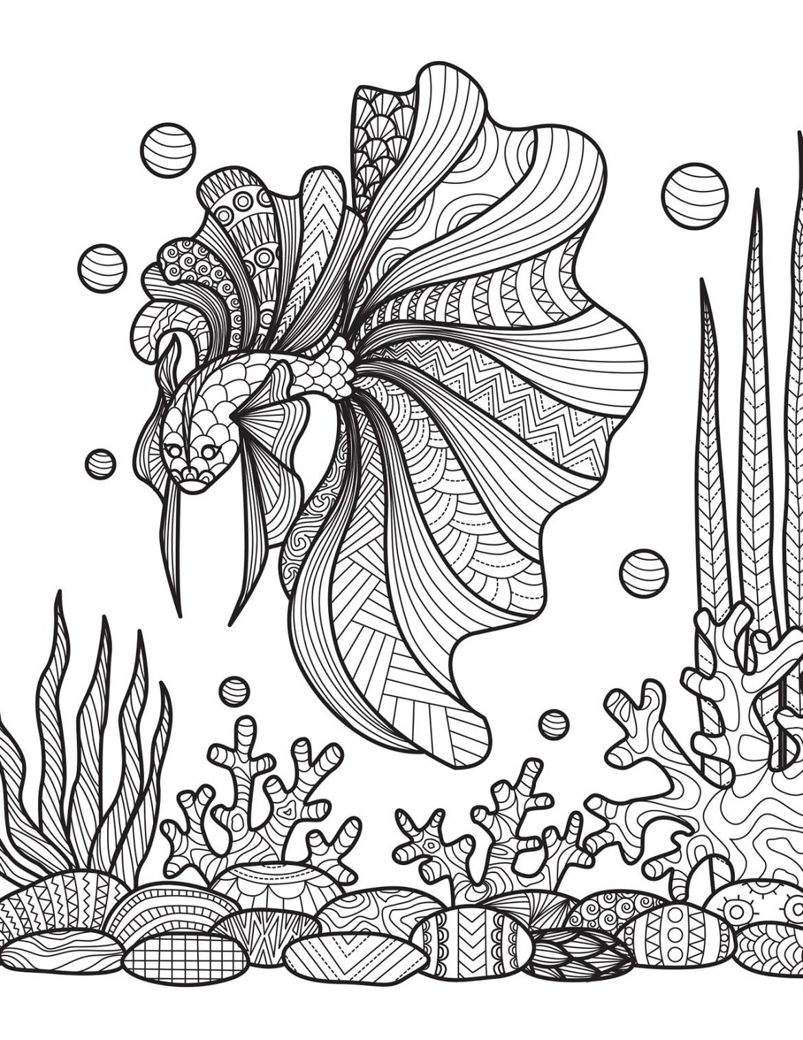 Coloriage de poisson dans la nature à imprimer - Artherapie.ca