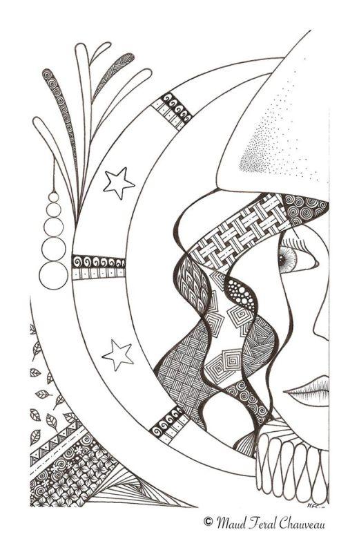 Personnage dans la nuit à imprimer par Maud Feral