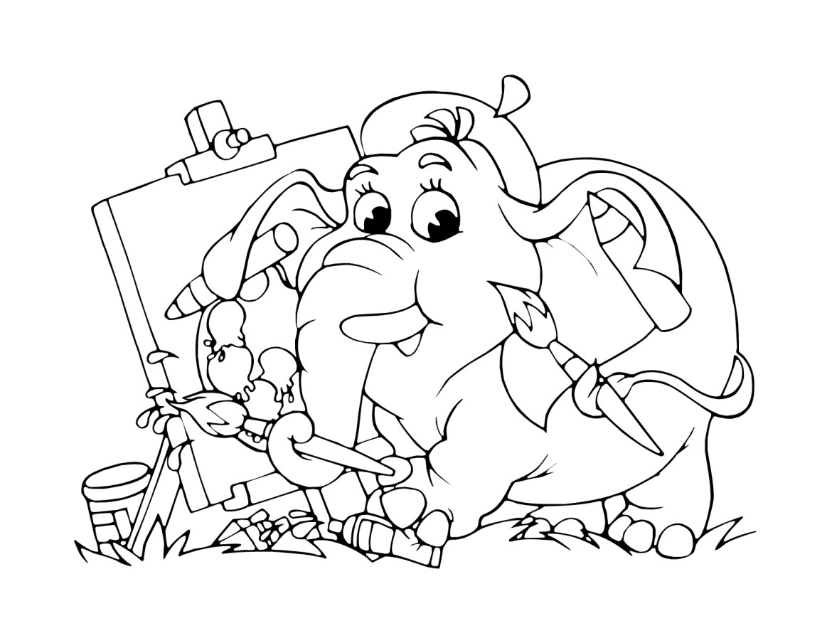 dessin l phant artiste pour enfant imprimer gratuit. Black Bedroom Furniture Sets. Home Design Ideas
