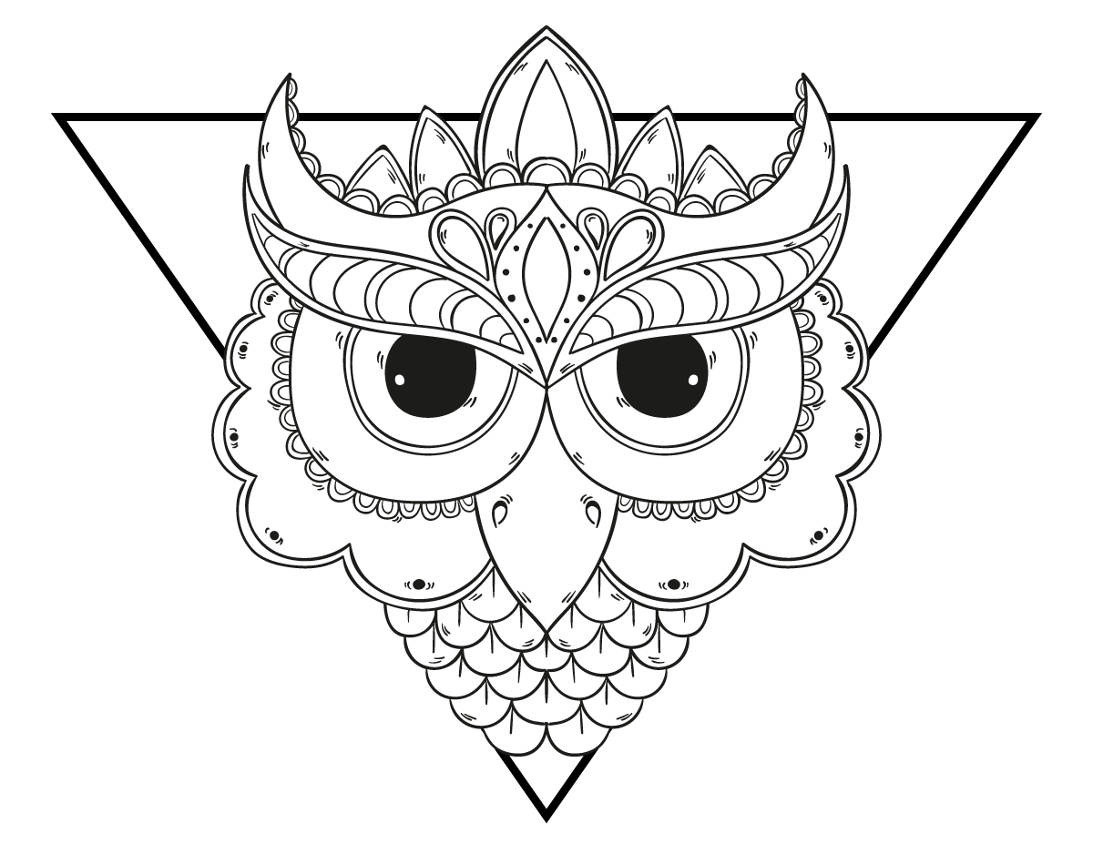 Coloriage Mandala Chouette Grands Yeux A Imprimer Artherapie Ca