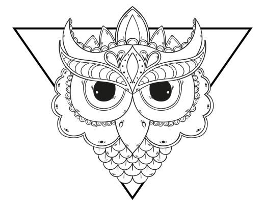 Coloriage mandala chouette grands yeux à imprimer