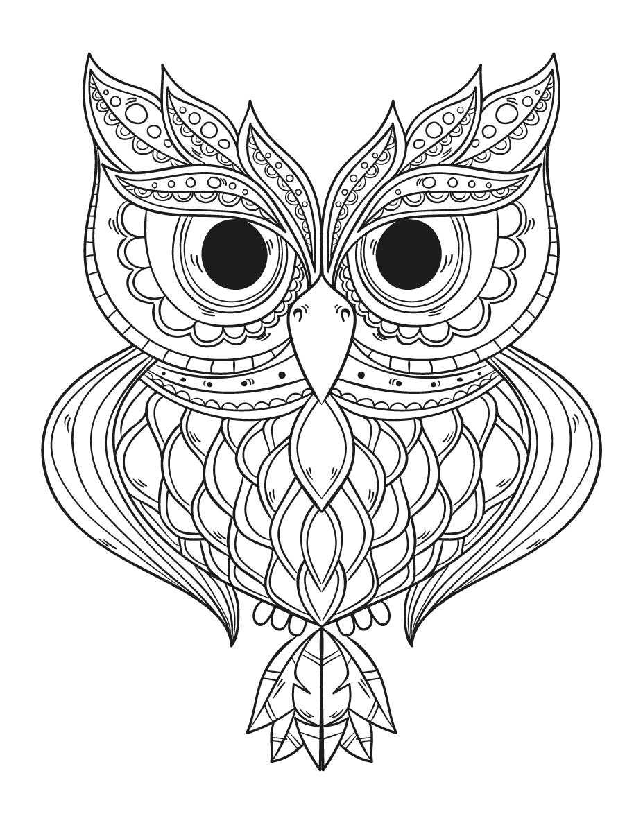 Dessin a imprimer gratuit hibou géométrie - Artherapie.ca