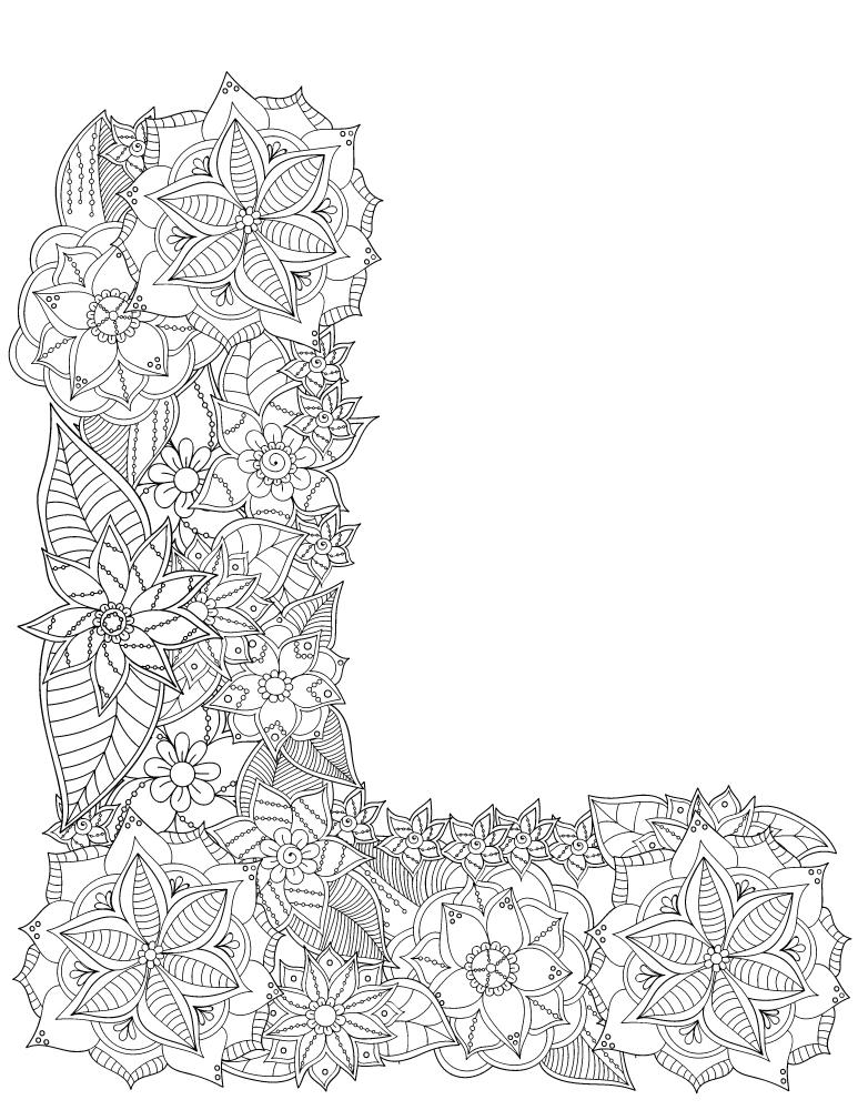 Coloriage Alphabet Fleur.Lettre L Fleurs Alphabet Rigolo Gratuit Imprimer Artherapie Ca