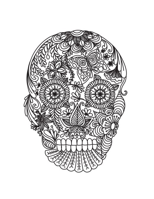 Dessin mexican skull tattoo pour adulte à imprimer