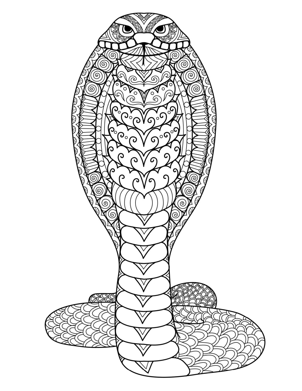 Coloriage Animaux Serpent.Coloriage Gratuit Serpent Cobra A Imprimer Par Bimbimkha Artherapie Ca