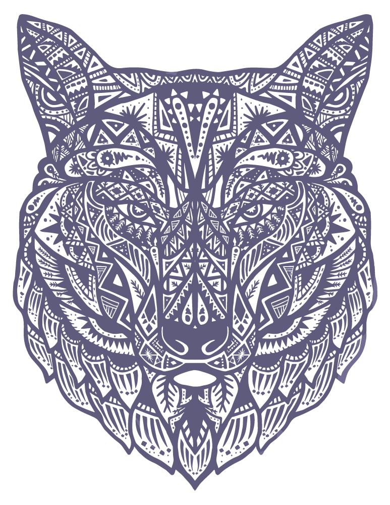 Loup mandala coloriage pour adulte à imprimer - Artherapie.ca