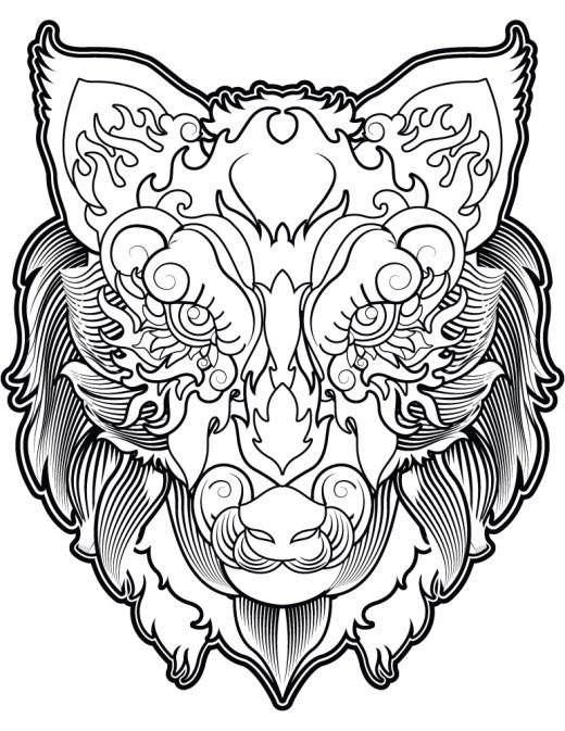 Tête de loup coloriage magnifique image à imprimer gratuit