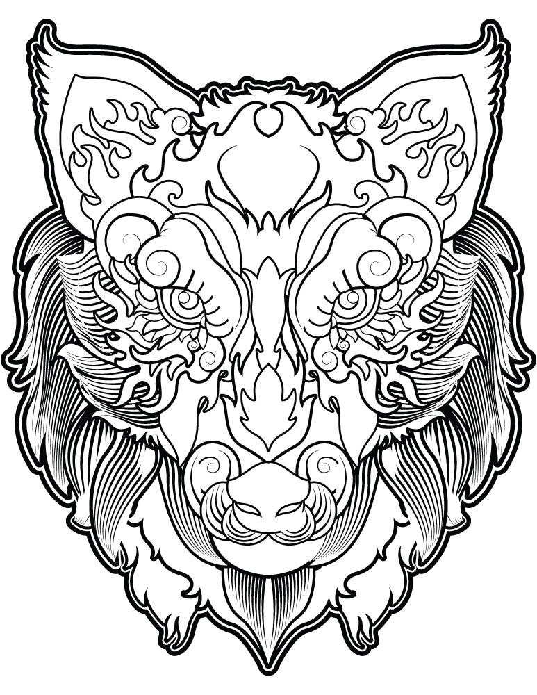 Tête de loup coloriage magnifique image à imprimer gratuit - Artherapie.ca