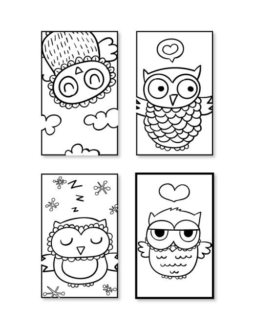 Coloriage facile à imprimer signet hiboux à dessiner