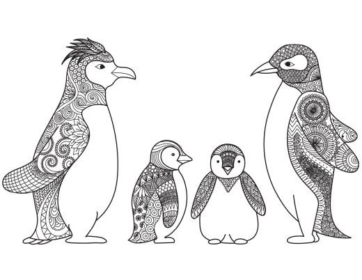 Adorable pingouins de Noël coloriage difficile par Bimbimkha