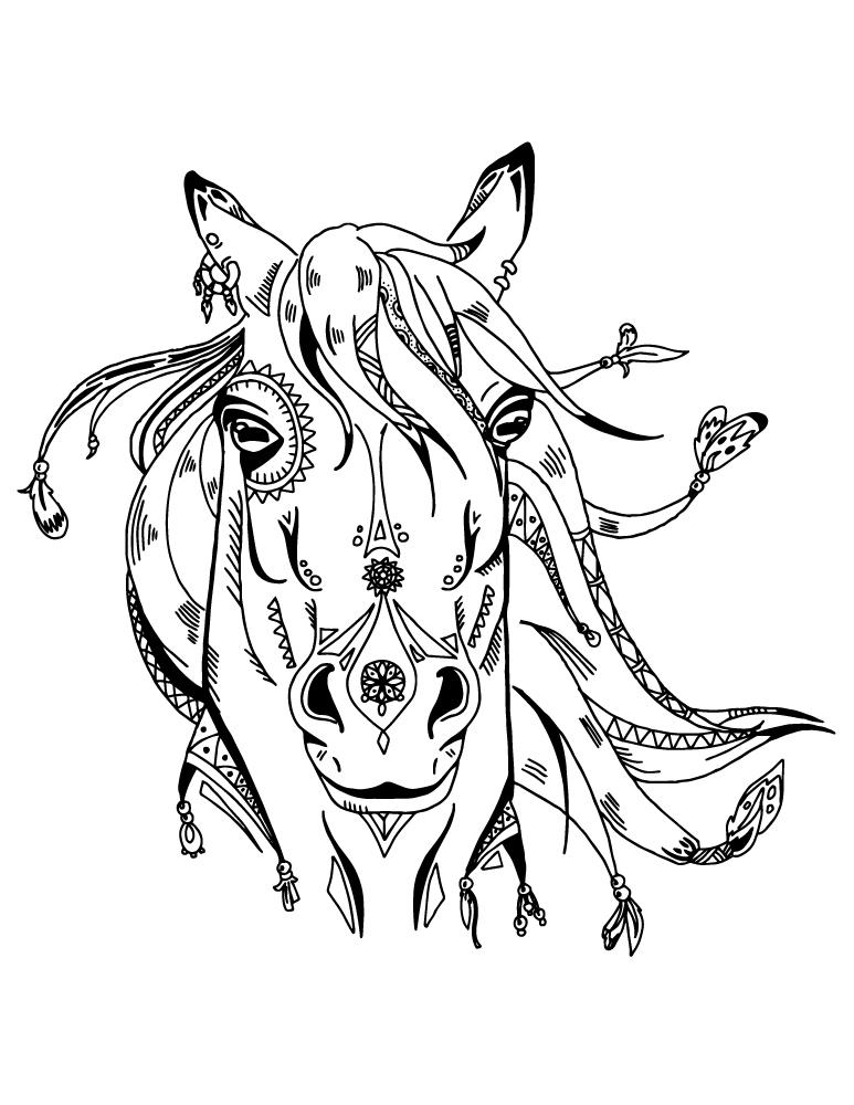 Art thérapie animaux cheval boho coloriage pour adulte à ...