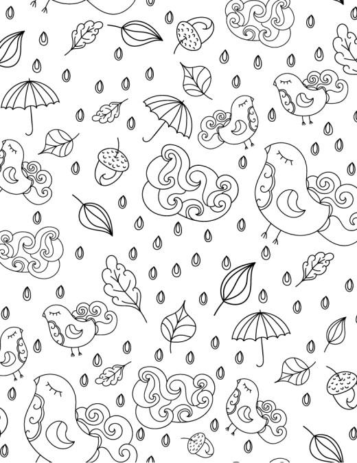 Page doodle oiseau automne à dessiner pour adultes