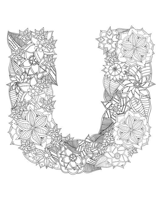 Affiche alphabet a imprimer lettre U coloriage très difficile