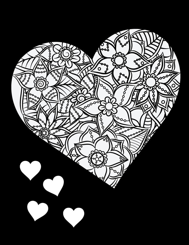 Coloriage Adulte Fond Noir.Coeur Fond Noir Dessin A Colorier Et A Imprimer Gratuit Artherapie Ca