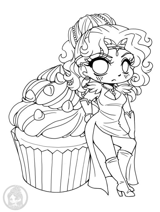 Princesse à colorier chibi cupcake gratuit dessin par YamPuff