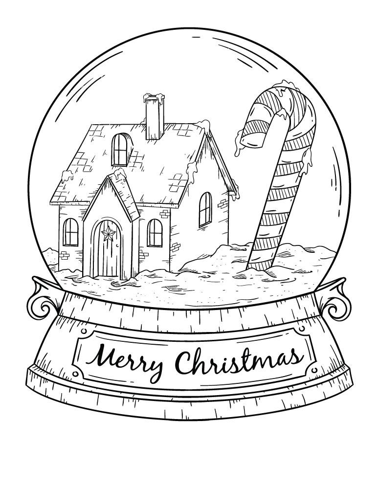 Snowglobe Carte De Noel A Imprimer Et Colorier Pour Adulte