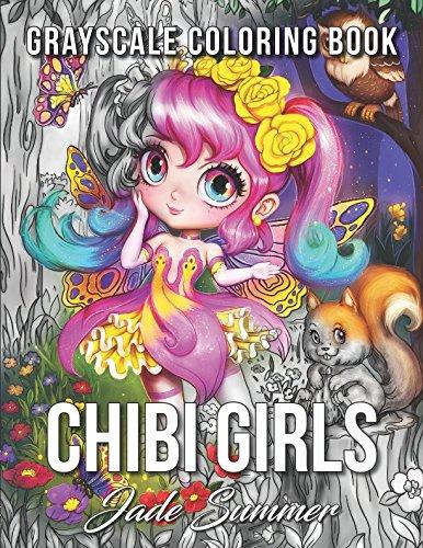 Chibi girls grayscale coloring book Jade Summer