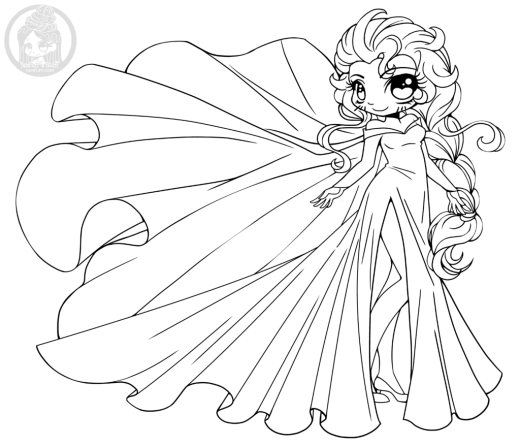 Disney Frozen Elsa princesse chibi à colorier par YamPuff