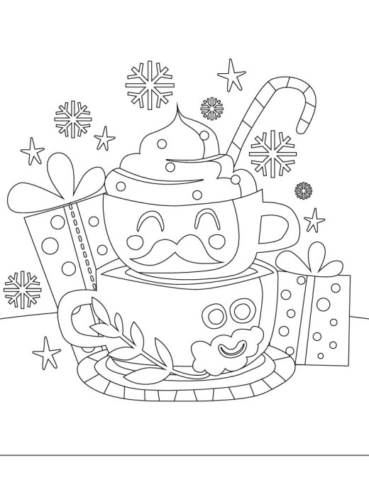 Café gratuit idee de dessin de noel à imprimer et colorier