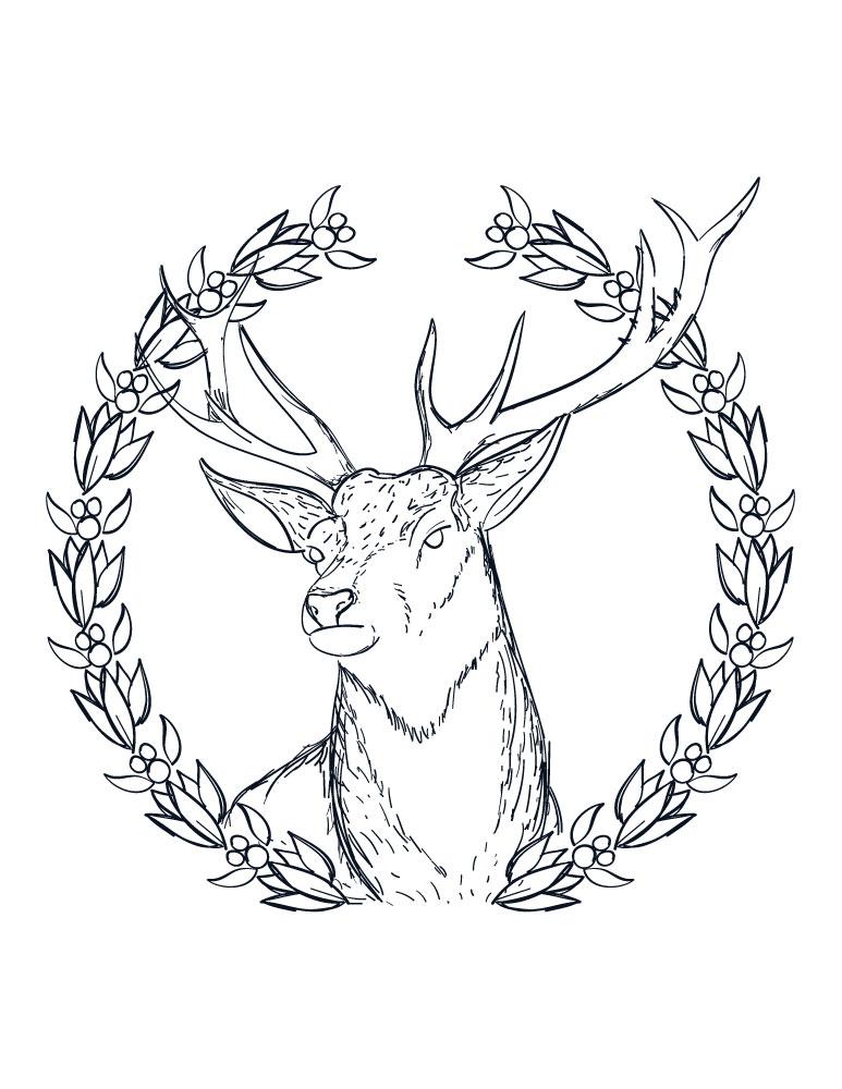 Coloriage a imprimer pere noel couronne de renne adulte - Dessin renne de noel ...