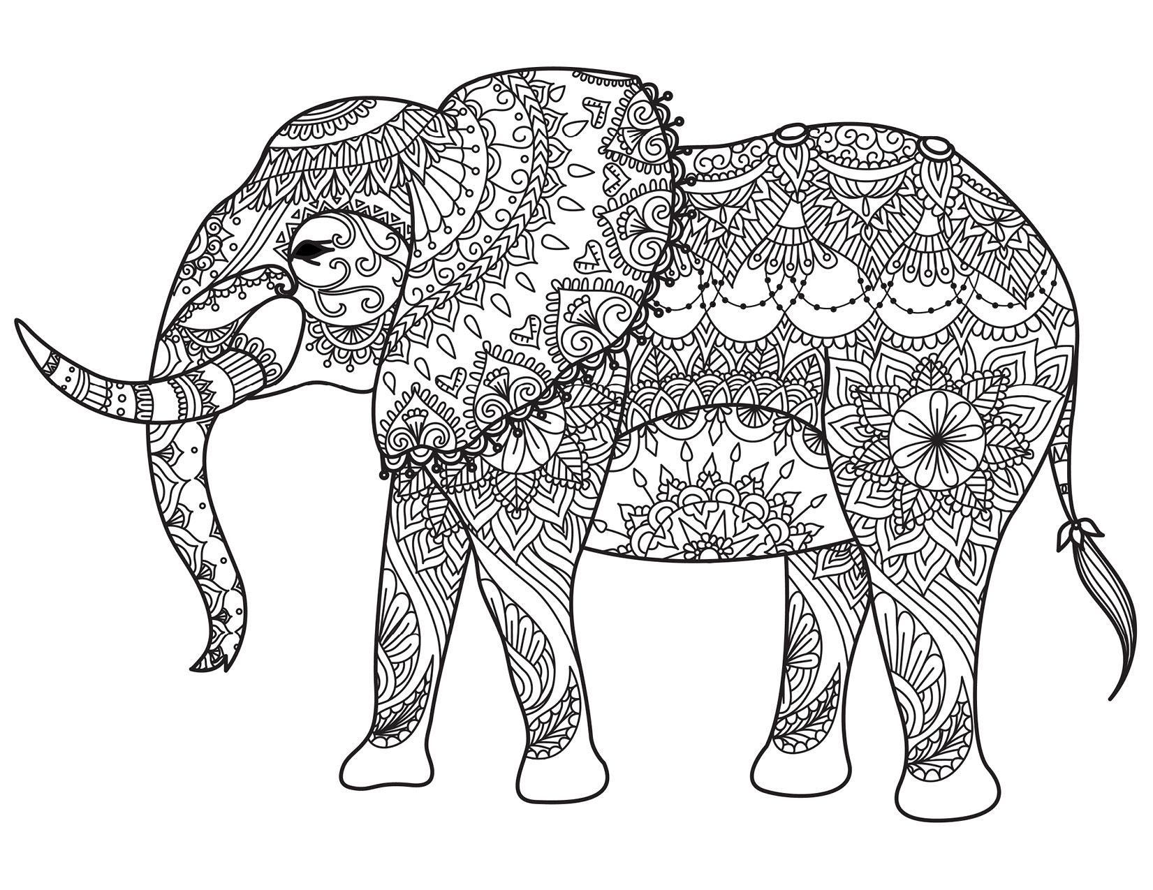 Coloriage Famille Elephant.Coloriage Animaux A Imprimer Pour Adulte Par Bimbimkha Artherapie Ca