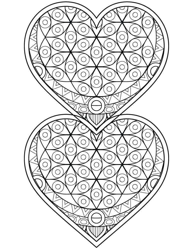 Dessin a imprimer coeur mandalas à colorier pour adulte