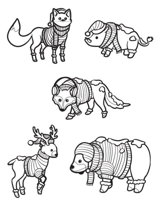 Animaux hiver dessin pour colorier a imprimer gratuit
