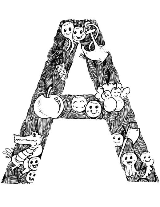 Alphabet coloriage doodle à imprimer pour adulte