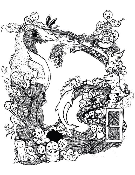 Typographie lettre D pour dragon ou dauphin à dessiner