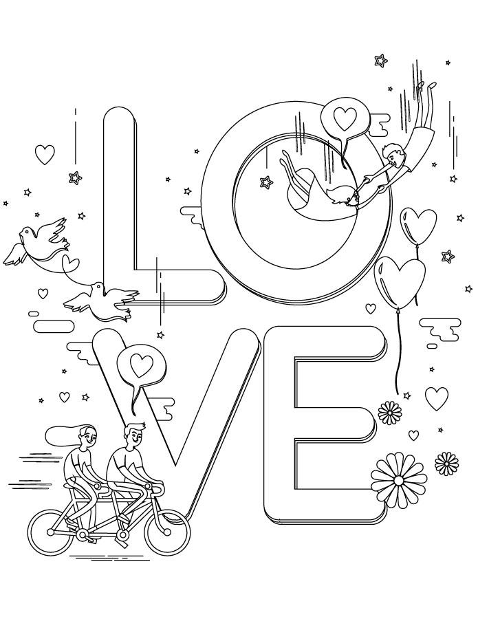 Dessin pour la saint valentin Love à colorier