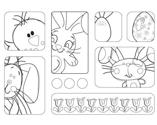 Coloriage de Pâque à imprimer lapins BD