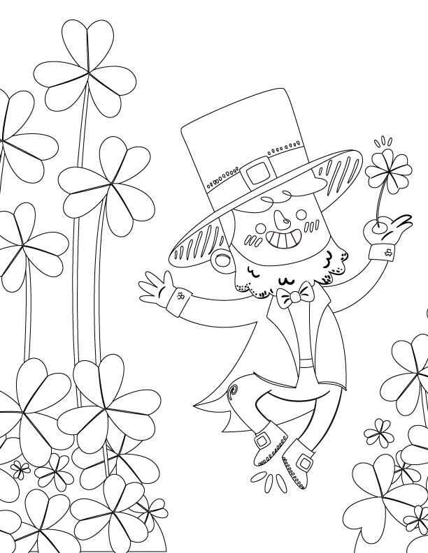 Coloriage a colorier gratuit gnome de la st-patrick