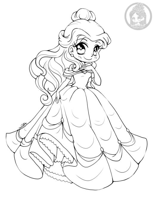 Dessin princesse Belle par YamPuff coloriage Disney adulte